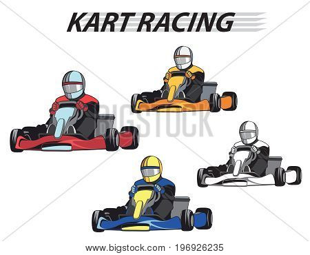 Karting. Racers in the karts in different colors / Competition, Championship, Winner. Flat design, vector illustration