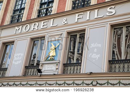 LILLE FRANCE - JUNE 25TH 2017: The beautiful exterior of the Morel and Fils Brasserie in the historic city of Lille in France on 25th June 2017.