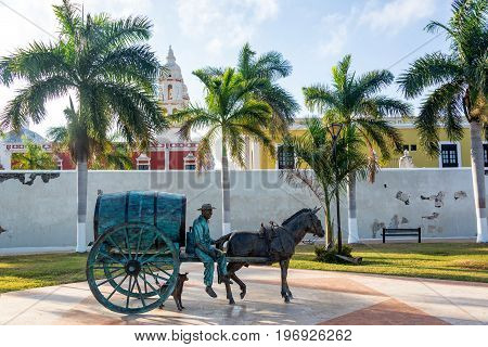 CAMPECHE MEXICO - FEBRUARY 28: Statue of a horse drawn carriage in Campeche Mexico on February 28 2017