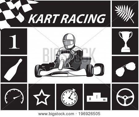 Karting Infographic in black and white, Kart, icons, racer. Flat design, vector illustration