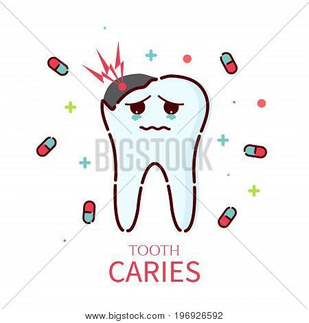 Sad cartoon tooth character with caries on white background. Oral dental hygiene. Teeth decay and restoration. Dental health symbol. Human body medical concept. Vector illustration.