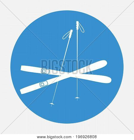 White ski icon on blue background. Winter sports equipment. Vector illustration.