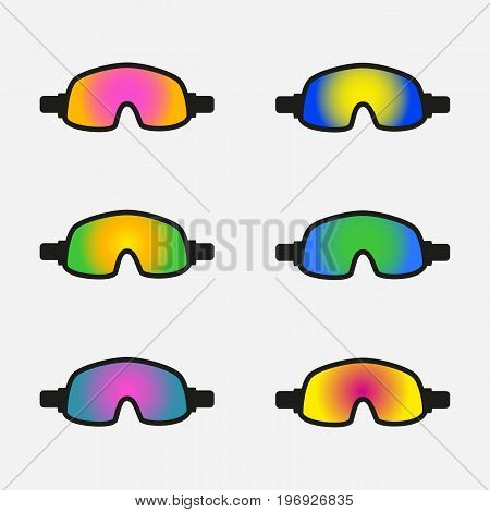 Set of goggles icons on white background. Winter sports equipment. Vector illustration.