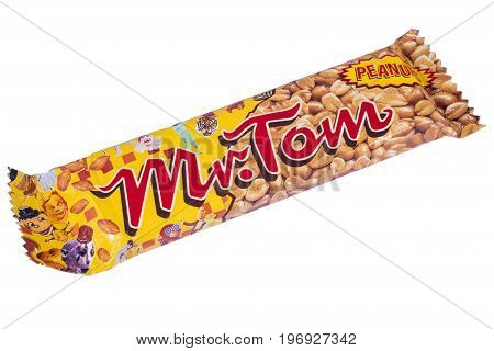 LONDON UK - JULY 7TH 2017: A shot of a Mr. Tom Peanut confectionery bar manufactured by Hosta Meltis over a plain white background on 7th July 2017.