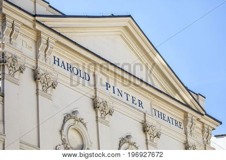 A view of the exterior of the Harold Pinter Theatre situated on Panton Street in London UK.