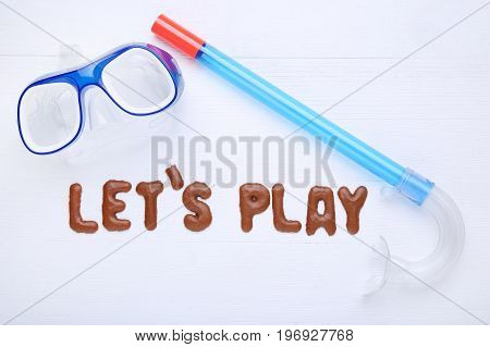 Let's Play Written By Chocolate Cookies Alphabet With Diving Mask And Snorkel