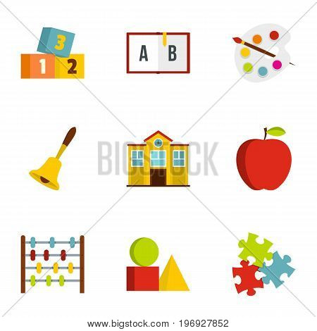Kindergarten icons set. Flat set of 9 kindergarten vector icons for web isolated on white background