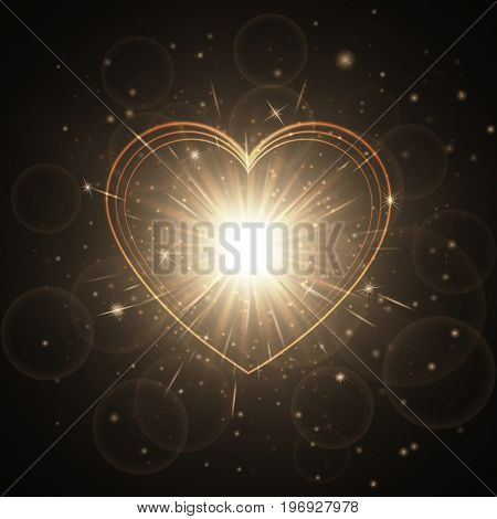 Glitter background with holiday lights. Wedding romantic design with a brilliant heart.