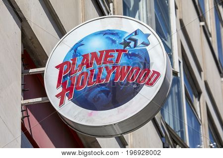 LONDON UK - JUNE 14TH 2017: The sign for the Planet Hollywood restaurant on Haymarket in London on 14th June 2017.