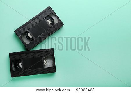 Video cassette tapes on the mint background