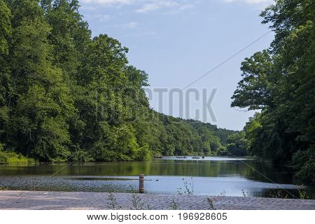 The view of Lake Surprise from the dam at the Watchung Reservation