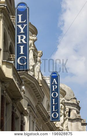 LONDON UK - JUNE 14TH 2017: The signs outside the Lyric Theatre and Apollo Theatre on Shaftesbury Avenue in London UK on 14th June 2017.