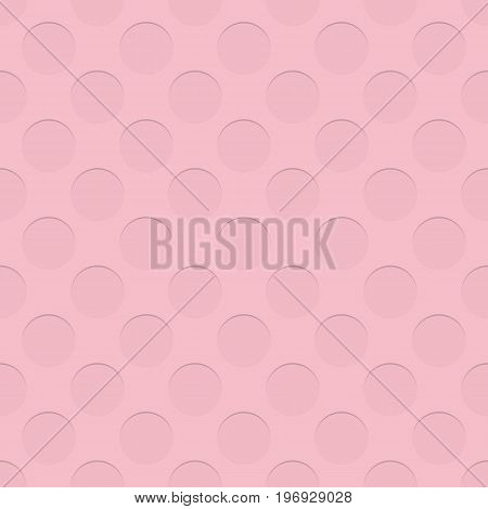 Pink seamless negative circle pattern texture background - spatial abstract vector design with shadow effect