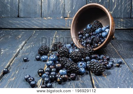 Composition From Forest Berries. Berries Are Scattered From The Plate. The Berries Are Dark In Color