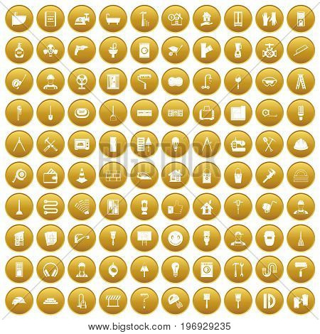 100 renovation icons set in gold circle isolated on white vector illustration