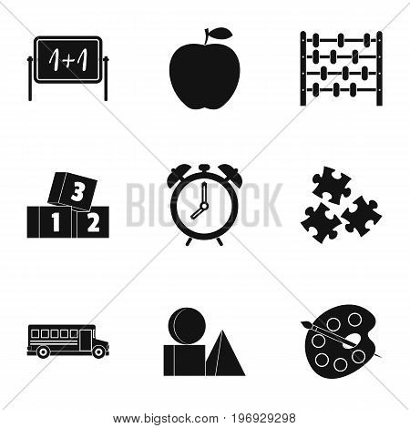 Kindergarten icons set. Simple set of 9 kindergarten vector icons for web isolated on white background