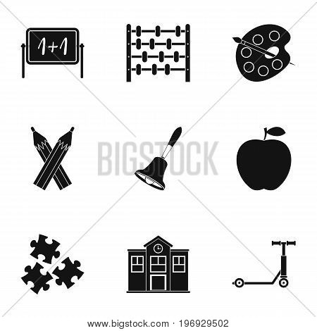 School time icons set. Simple set of 9 school time vector icons for web isolated on white background