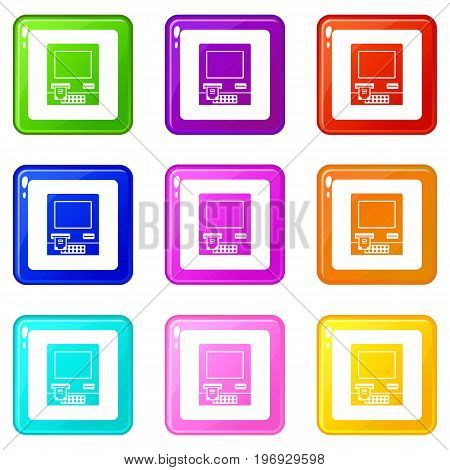 ATM bank cash machine icons of 9 color set isolated vector illustration