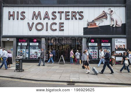 LONDON UK - JUNE 14TH 2017: A view of the His Masters Voice also known as HMV store on Oxford Street in central London UK on 14th June 2017.