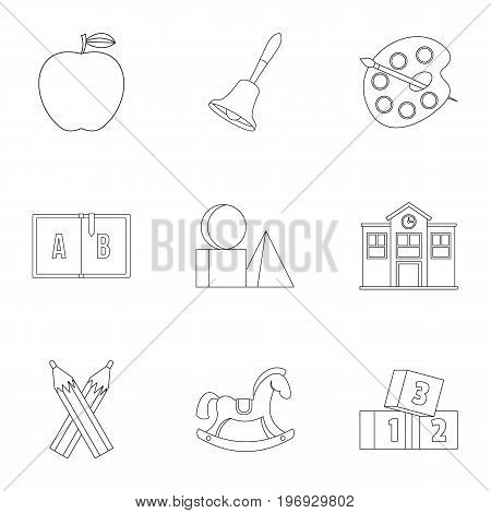 School icons set. Outline set of 9 school vector icons for web isolated on white background