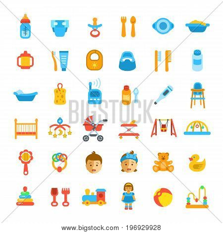 Baby care icons. Flat vector illustrations. Simple pictograms of newborn baby hygiene, food, healthcare, growth and playing. Accessories and toys for happy kid and mother