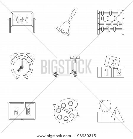 Kindergarten icons set. Outline set of 9 kindergarten vector icons for web isolated on white background