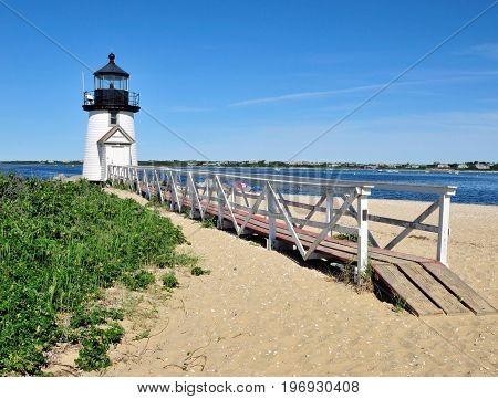 Brant Point Lighthouse located on the island of Nantucket, Massachusetts.