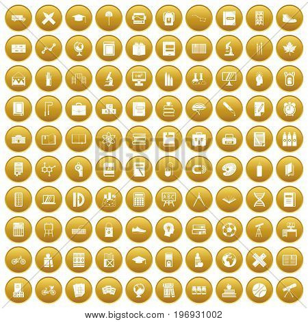 100 school icons set in gold circle isolated on white vector illustration