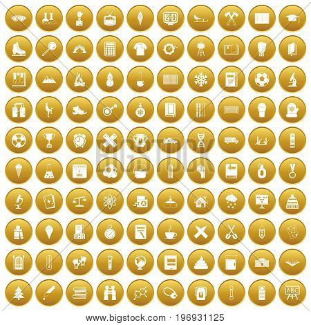 100 school years icons set in gold circle isolated on white vector illustration