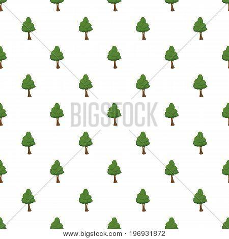 Green tree pattern seamless repeat in cartoon style vector illustration