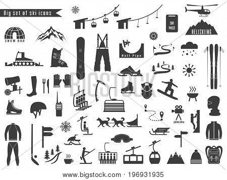 Big set of icons for ski and winter sports. Design for tourist catalog maps of the ski slopes placard brochure flyer booklet. Vector illustration.