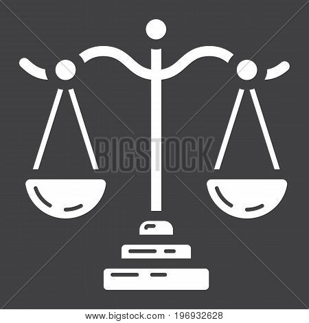 Libra glyph icon, business and finance, scale sign vector graphics, a solid pattern on a black background, eps 10.