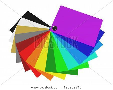 The color palette of acrylic in 3D (spectrum of colors) isolated on white background