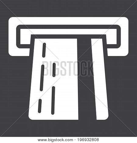 ATM credit card glyph icon, business and finance, cash sign vector graphics, a solid pattern on a black background, eps 10.