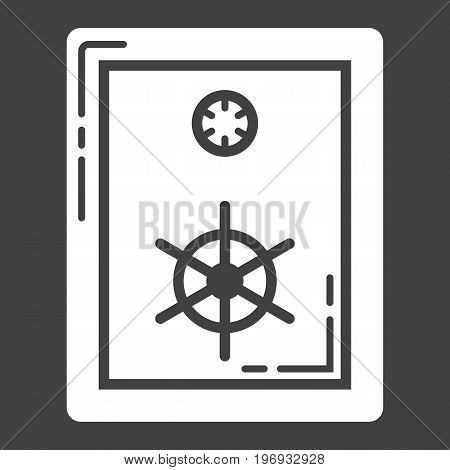 Strongbox glyph icon, business and finance, bank safe sign vector graphics, a solid pattern on a black background, eps 10.