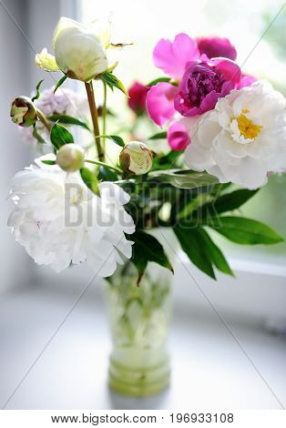 Amazing Bouquet Of White And Purple Peonies