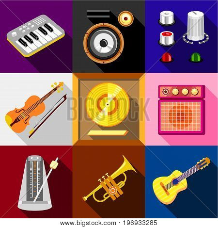Musical instruments icons set. Flat set of 9 musical instruments vector icons for web with long shadow