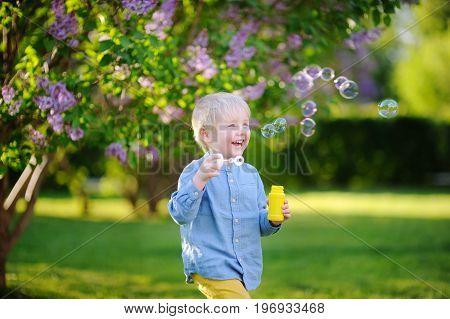 Cute Little Boy Blowing Soap Bubbles In Beautiful Summer Park