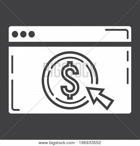 Online banking glyph icon, business and finance, ecommerce sign vector graphics, a solid pattern on a black background, eps 10.