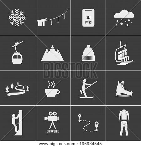 Set of icons for ski and winter sports. Design for tourist catalog maps of the ski slopes placard brochure flyer booklet. Vector illustration.