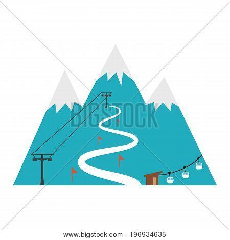 Ski resort icon. Design for tourist catalog maps of the ski slopes placard brochure flyer booklet etc. Vector illustration.