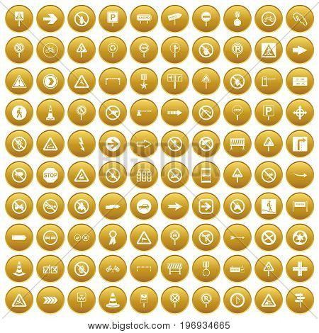 100 road signs icons set in gold circle isolated on white vector illustration