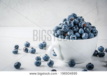 Fresh Raw Blueberry In White Cup