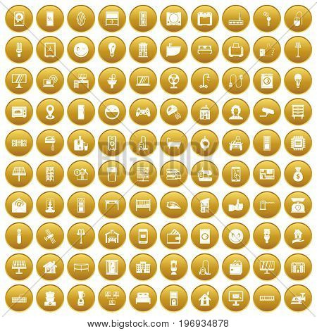 100 smart house icons set in gold circle isolated on white vector illustration