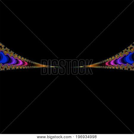 Colorful fractal. Black copy space. Abstract illustration.