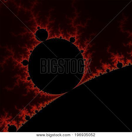 Red mandelbrot fractal. Abstract illustration. Black background. Fractal artwork.