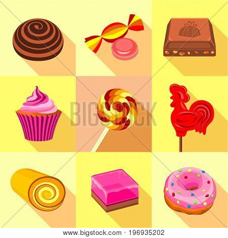 Candy icons set. Flat set of 9 candy vector icons for web with long shadow