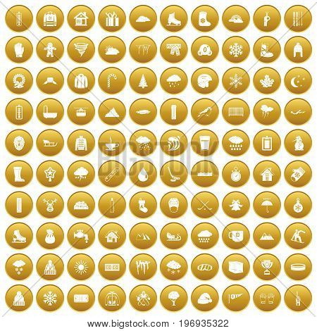 100 snow icons set in gold circle isolated on white vector illustration
