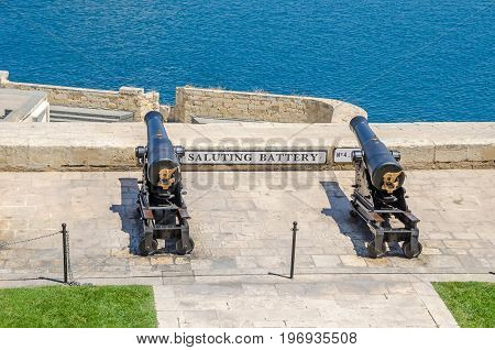 Two of the eight working ceremonial guns of the Saluting Battery which fire gun signals daily as seen from the Upper Barrakka Gardens in Valletta Malta.