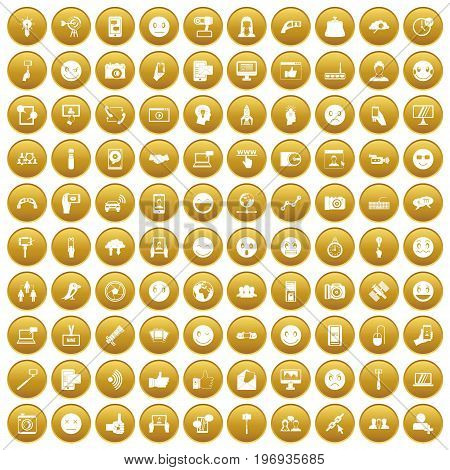 100 social media icons set in gold circle isolated on white vector illustration
